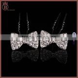 Girls Luxury Glitter Bride Rhinestone Bowknot Hairpin U Model Hairpin