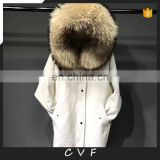 Fur factory real fox fur inside genuine raccoon fur collar corduroy coat