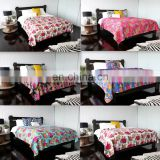 Tropical Kantha Quilt Fruit Print Kantha Bed Cover Queen Size Set Of 6 Pcs Lot Tropicana Bedspred
