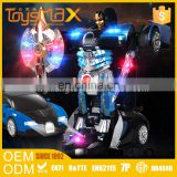 Chinese toy manufacturers 2.4g 6 channel plastic deformation toy rc trans robot toy car with shooting and smoking function