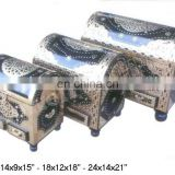 "ANTIQUE WOODEN BOX WHITE ENAMEL DESIGN (14 x 9 x 15"")"