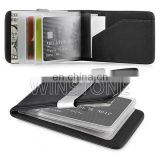 Multifunction Leather Credit Card Holder Money Clip with Plastic Slots