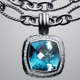 Designer Inspired DY 925 Sterling Silver 14mm Blue Topaz Albion Pendant Enhancer