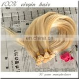 Wholesale 5A remy hair extension,blonde pre-bonded stick keratin hair,10-30 inch i tip hair extensions
