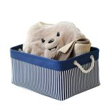 Stripe print storage basket rectangle storage basket cotton canvas folding laundry basket