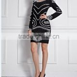2015 Newest Black Long Sleeve Crystal Manual Nail Beading Bandage Dress Cocktail Party Prom Elegant Bodycon Elegant Luury Dress