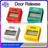 Low cost white yellow red green panic stop emergency break glass door release button