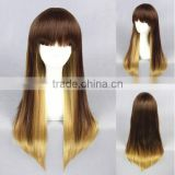 High Quality 65cm Medium Long Straight Blond&Gold Mixed Lolita Wig Synthetic Anime Wig Cosplay Hair Wig Party Wig