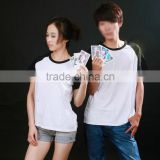sweethearts outfit short sleeve T-shirt sublimation custom blank 100% polyster raglan T-shirt