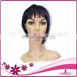Factory Wholesale MOQ 1 PC one purple streak in black hair short wigs with bangs synthetic wig