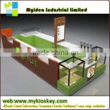 custom mall popsicles kiosk with changing color led light and topping display freezer dipping popsicles kiosk