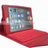 Qwerty Leather Case + wireless Bluetooth Keyboard for ipad mini red