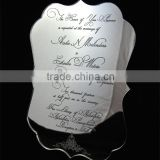 Hot sale noble silver mirrored acrylic wedding invitations with black silk screen printing