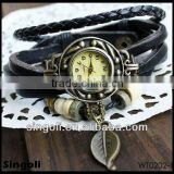 2014New design genuine leather band watch, leaf pendant vingtage watch