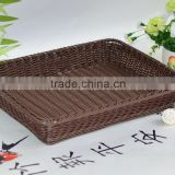 Supermarket large rectangular plastic rattan fruit display rack tray basket