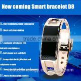 2016 Bluetooth Bracelet Full steel Smart Bracelet D8 Sync answer phone Wrist LED Digital Watch