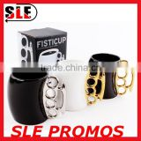 Hot Sale New Product Design Wholesale Ceramic Fist Cup,Brass Knuckle Duster Handle Coffee Milk Mug Cup Cool Gift Promotional AD