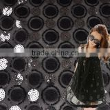 100%polyester with sequin mesh lace applique fabric for party dress