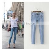 Light jeans pants female summer thin thin jeans slim women's trousers all-match foreign trade