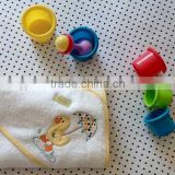 baby hooded towel with embroidered logo 100%cotton terry bath towel for baby soft little duck design -2