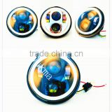 5.75 Inch Round Cre-e LED Headlights White Halo Ring Angel Eyes+Amber Turning Signal HeadLights