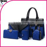 muliti color wholesale 5pcs a set ladies PU leather handbag joker laptop bag party use bag
