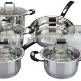 10pcs set stainless steel non electric biryani cooking pot castamel cookware for saucepan fry pan