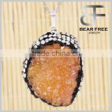 Agate Pendant Nature Druzy Agate Dyed Orange Color Necklace Charms One Hook