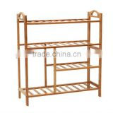 potable multideck bamboo slatwall shelf for shoes and boots