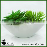 Small White Ceramic Mini Artificial Potted Succulent Garden Bonsai for Wholeselling
