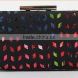 Exports to Europe fluorescent colors hot pu metal frame satin clutch ladies evening party bag