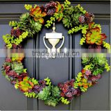 real touch artificial plastic plants succulent plants and flowers christmas wreath for wall door decoration
