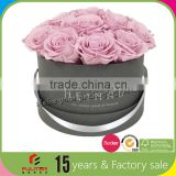 Luxury fabric cardboard round gift rose packaging box