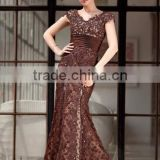 V-neck Floor-Length Taffeta Lace Dress Crocotail dress maxi dress prom dress With Beading