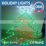 Outdoor decor led lighted trees / merry christmas tree rope light wall decor for outdoor