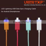 wholesale colorful fast charging custom usb cable with led light for android smart phone