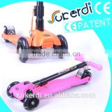 2014 new patent product high quality foldable kids kick scooter stand up trike scooter