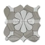 Wooden White And Gray Mixed Flower Pattern Honed Water jet Marble Mosaic Tile For Wall Deco
