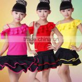 Hot selling high quality spandex summer red girls latin dance costumes for kids competition