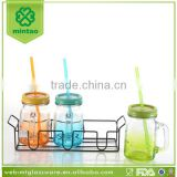 3pcs/set 16oz wholesale glass mason handle jar with metal stand