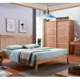 Small space saving Apartment Interior bedroom furniture set ubber wood Doube/single Bed and Sliding wardrobe closet