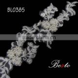 New item fashion wholesale white bridal fabric flower trim with bead