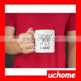 UCHOMEI Do What I Want Cat Funny 11oz Ceramic Coffee Mug Heart Shape Handle Coffee Mug Blank Sublimation Mug