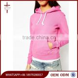 Latest Design Ribbed Trims Blank Pullover Pink Hoodie for Girl 2015