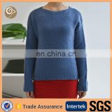 O neck knitted wholesale long sleeve cashmere sweater women