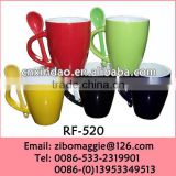 Beautiful Daily Used Colored Personalized Ceramic Promotional Coffee Mug Spoon