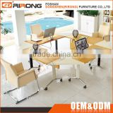 Customized cheap multiple combination foldable square veneer open 4 seater office workstation