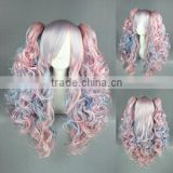 medium multi color lolita 70CM+50CM tonytail wave Clip On Ponytail Hair wig