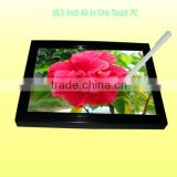 Good Price 18.5'' 3G 5Wire Resistive Touch AIO Industrial Design Ultralthin All In One PC Tablet Computer With Wifi /Webam