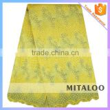 Mitaloo Fancy Embroidered Design Nigerian Fashion Yellow Organza Fabric For Wedding MOG0195